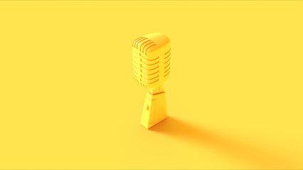 Yellow Vintage Microphone 3d illustration Wall mural