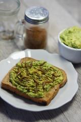 Roasted Mealworms on Avocado Toast
