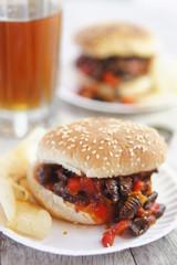 Sloppy Silkworm Sandwich  on Burger Buns