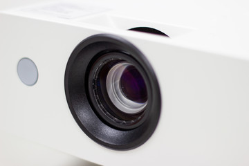 closeup details lens of projector for cinema and presentation