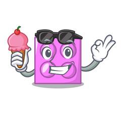 With ice cream toy brick character cartoon