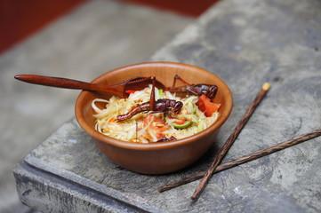 Thai Papaya Salad with a Grasshopper
