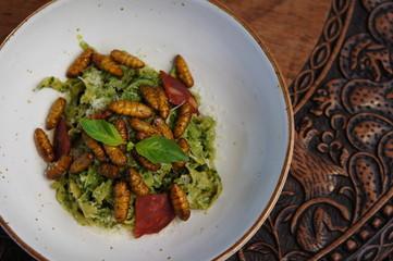 Silkworm Pesto with Chorizo