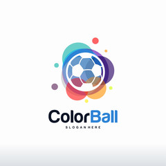 Colorful Soccer Ball logo designs concept vector, Colorful Ball logo designs