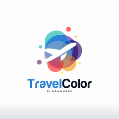 Travel Color logo designs concept vector, Colorful Plane logo designs concept vector