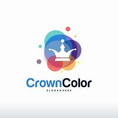 Colorful Crown logo designs concept vector, King Fashion logo template