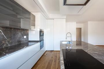 Interior of modern luxury apartment, empty attic