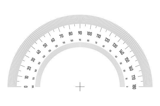 Protractor grid for measuring angle or tilt. Double side 180 degrees scale. Simple vector illustration.