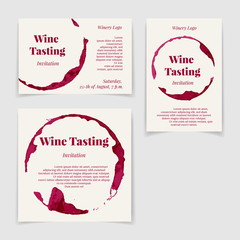 Set of Wine Tasting Invitation cards in different proportions. Vector design elements.
