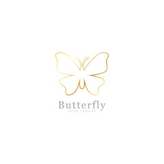abstract design of butterfly shape. outline with a luxurious golden color
