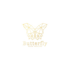 low poly design of gold butterfly shape