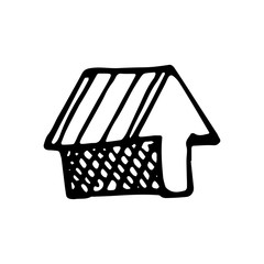 Hand Drawn house icon doodle. Sketch style icon. Decoration element. Isolated on white background. Flat design. Vector illustration