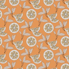 Pattern of hand drawn oranges slices with leaves isolated on orange background