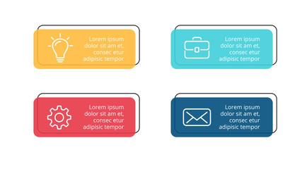 Vector paper arrows infographic, banners diagram, labels graph, stickers presentation chart. Business concept with 4 options, parts, steps, processes. Slide template.