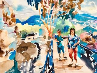 original watercolor artwork of man and woman are walking along a