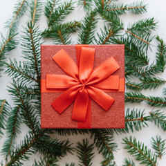 Christmas or New Year gift in a red box. Fir branches near for decoration. Christmas concept.