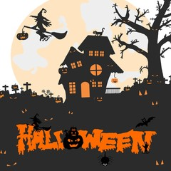 Halloween night background with silhouette of naked trees, tomb, haunted house, pumpkin, full moon, bats and witch, Hand drawn, Space for text in template, logo of creative calligraphy for Halloween