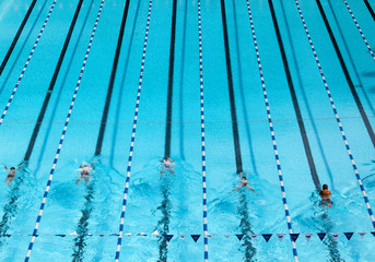 Bird eye view of blue swimming pool with swimmer.