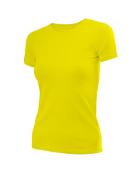 Slim female shirt in yellow with short sleeves isolated on white background (model 6)