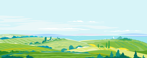 Farming Hills Summer Landscape Background