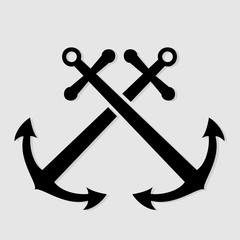 Crossed nautical anchors icon. Vector illustration.