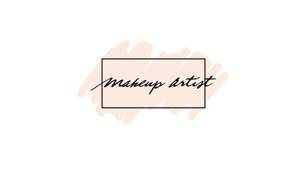 Make up print design with watercolor smear and frame. Makeup modern logo with paint brush smear. Beauty creative woman business card template.