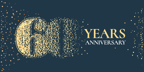 60 years anniversary celebration vector icon, logo