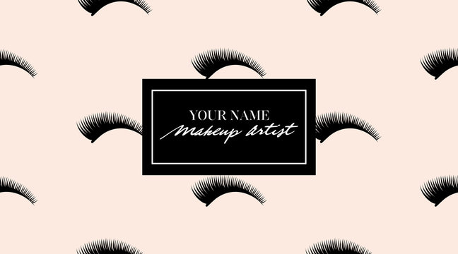 Makeup artist business card. Vector template with makeup eyelashes seamless pattern design. Beauty makeup concept. Makeup artist design for web or card. Eyelashes pattern