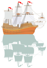 Illustration of ancient fantasy sailboat with reflection, vector cartoon image.