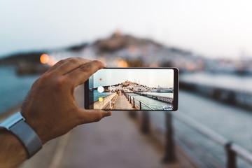 Ibiza old town through a phone camera