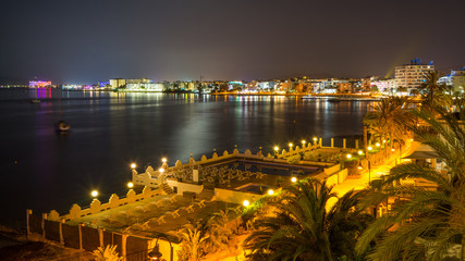 Ibiza town cityscape by night