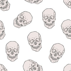 Seamless pattern with realistic human skulls on white background. Backdrop with dead heads or headbones. Monochrome vector illustration for wrapping paper, Halloween wallpaper, fabric print.