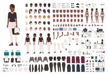 African American woman secretary, manager or office assistant DIY or animation kit. Set of female character body parts and formal clothing isolated on white background. Cartoon vector illustration.