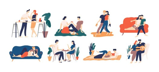 Collection of romantic couple spending time or relaxing together - having picnic, reading books, drinking coffee or wine, playing guitar, walking. Colorful vector illustration in flat cartoon style.