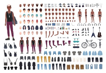 Punk rocker DIY or animation kit. Bundle of young male character or teen body elements, postures, outfit, counterculture accessories isolated on white background. Flat cartoon vector illustration.