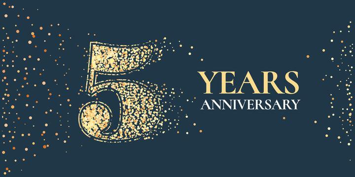 5 years anniversary celebration vector icon, logo