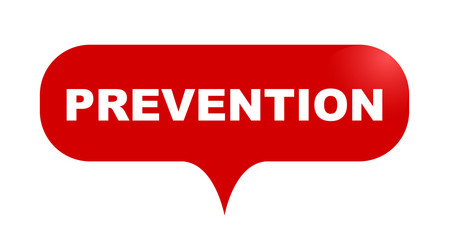 red vector bubble banner prevention