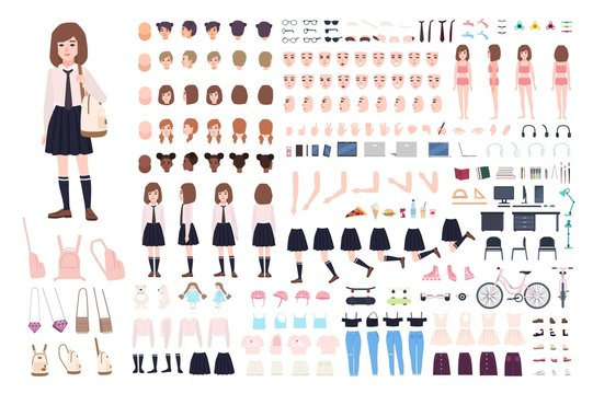 School girl constructor or DIY kit. Set of young female character body parts, facial expressions, uniform isolated on white background. Front, side and back views. Flat cartoon vector illustration.