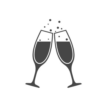 Champagne glass icon, Champagne Toast Icon - Illustration