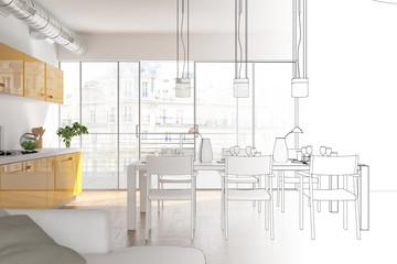 Interior Design Modern Loft Drawing Gradation Into Photograph