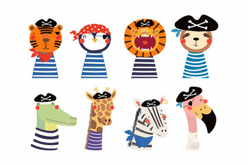 Poster de jardin Des Illustrations Set of cute funny little animals pirates lion, tiger, zebra, flamingo, penguin, sloth, giraffe, crocodile. Isolated objects on white. Vector illustration. Scandinavian style design. Concept kids print