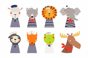 Türaufkleber Abbildungen Set of cute funny little animals sailors lion, sheep, wolf, frog, moose, squirrel, elephant, sloth. Isolated objects on white. Vector illustration. Scandinavian style flat design. Concept kids print