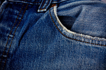 close-up view of jean abstract space of empty light blue natural old denim texture