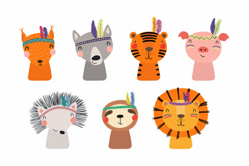 Wall Murals Illustrations Set of cute funny little tribal animals lion, tiger, wolf, sloth, hedgehog, pig, squirrel. Isolated objects on white. Vector illustration. Scandinavian style flat design. Concept for children print