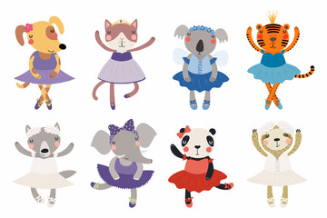 Poster Illustrations Set of cute funny little animals ballerinas cat, koala, panda, tiger, dog, wolf, sloth, elephant. Isolated objects on white. Vector illustration. Scandinavian style flat design. Concept children print