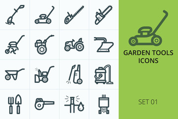 Garden tools icons set. Set of trimmer, lawn mower, high pressure