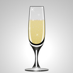 Glass of champagne or sparkling wine. Vector illustration