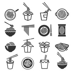 Instant noodles icon set