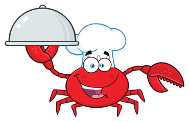 Crab Chef Cartoon Mascot Character Holding A Platter. Vector Illustration Isolated On White Background