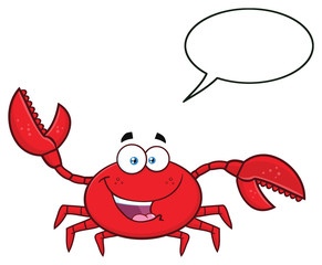 Happy Crab Cartoon Mascot Character Waving For Greeting. Illustration Isolated On White Background With Speech Bubble